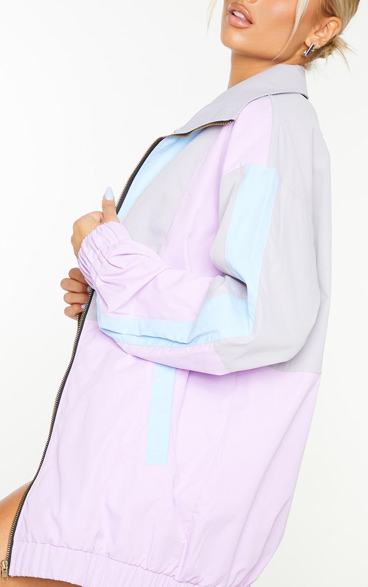 Lilac Colourblock Longline Elastic Hem Tracksuit Jacket 4