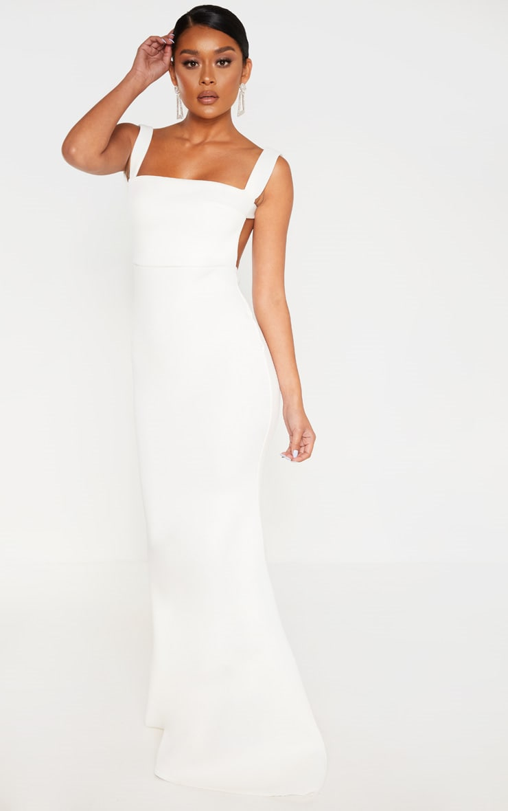 White Strappy Square Neck Maxi Dress 4