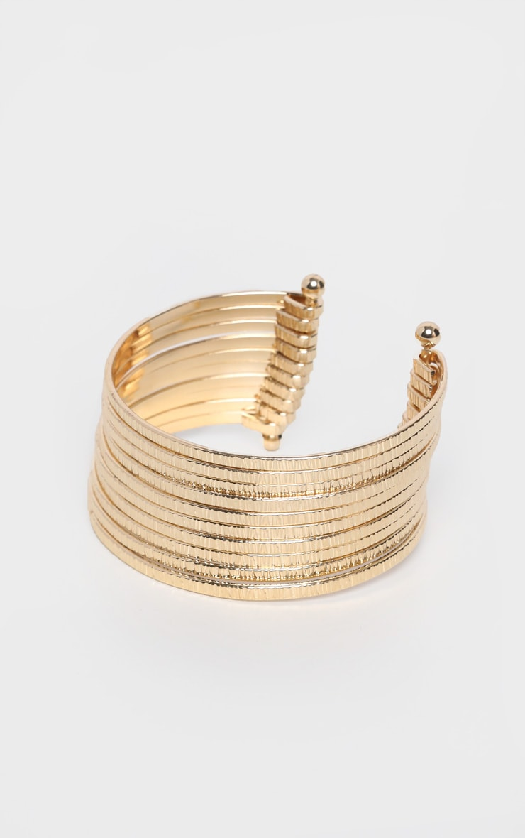 Gold Chunky Multi Ring Bangle 2