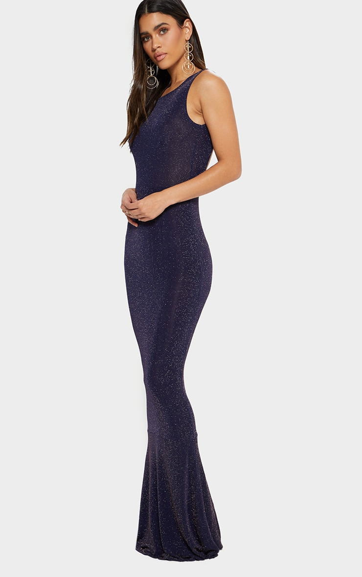 Navy Backless Glitter Fishtail Maxi Dress 3