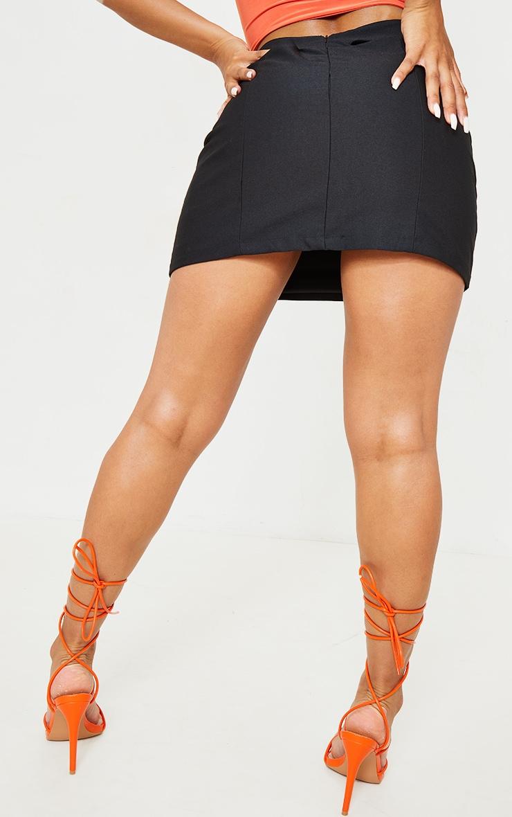 Black Woven Cut Out Mini Skirt 3