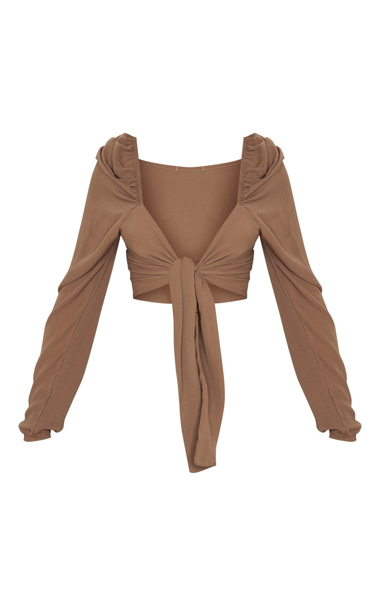 Chocolate Puff Long Sleeve Tie Crop Blouse 5