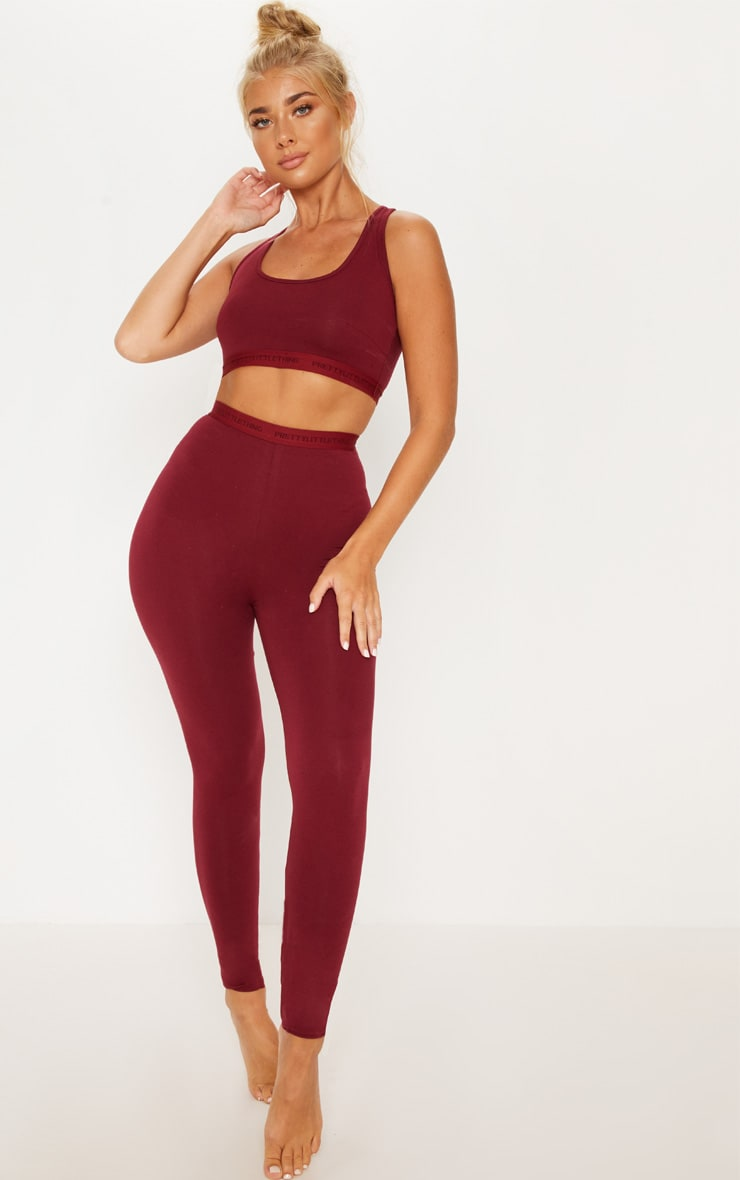 PRETTYLITTLETHING Maroon High Waisted Leggings