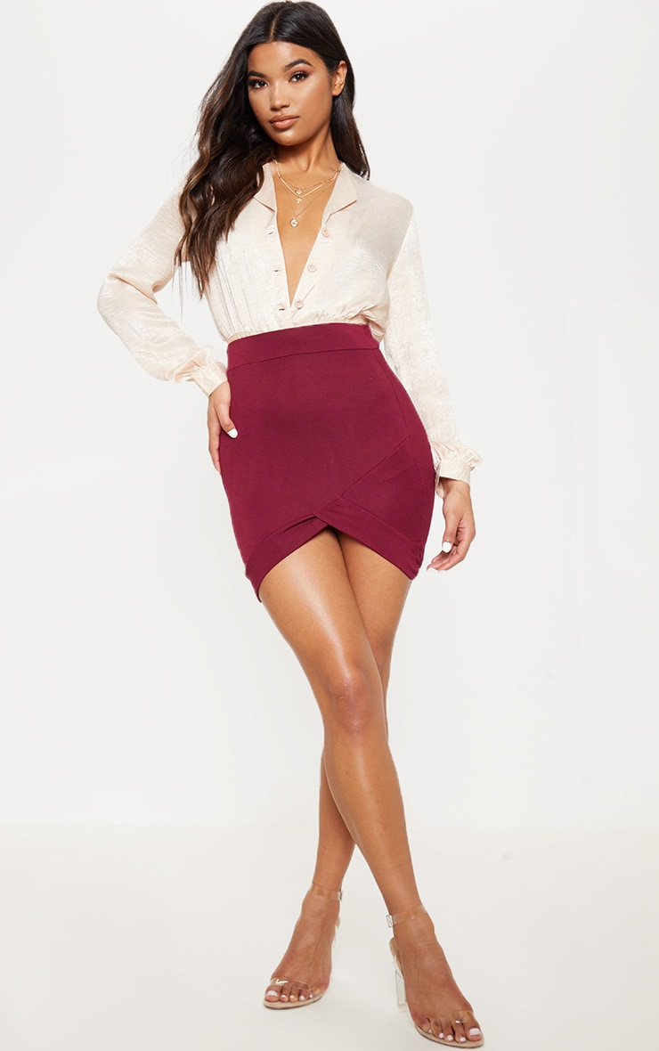 Basic Burgundy Asymmetric Mini Skirt 5