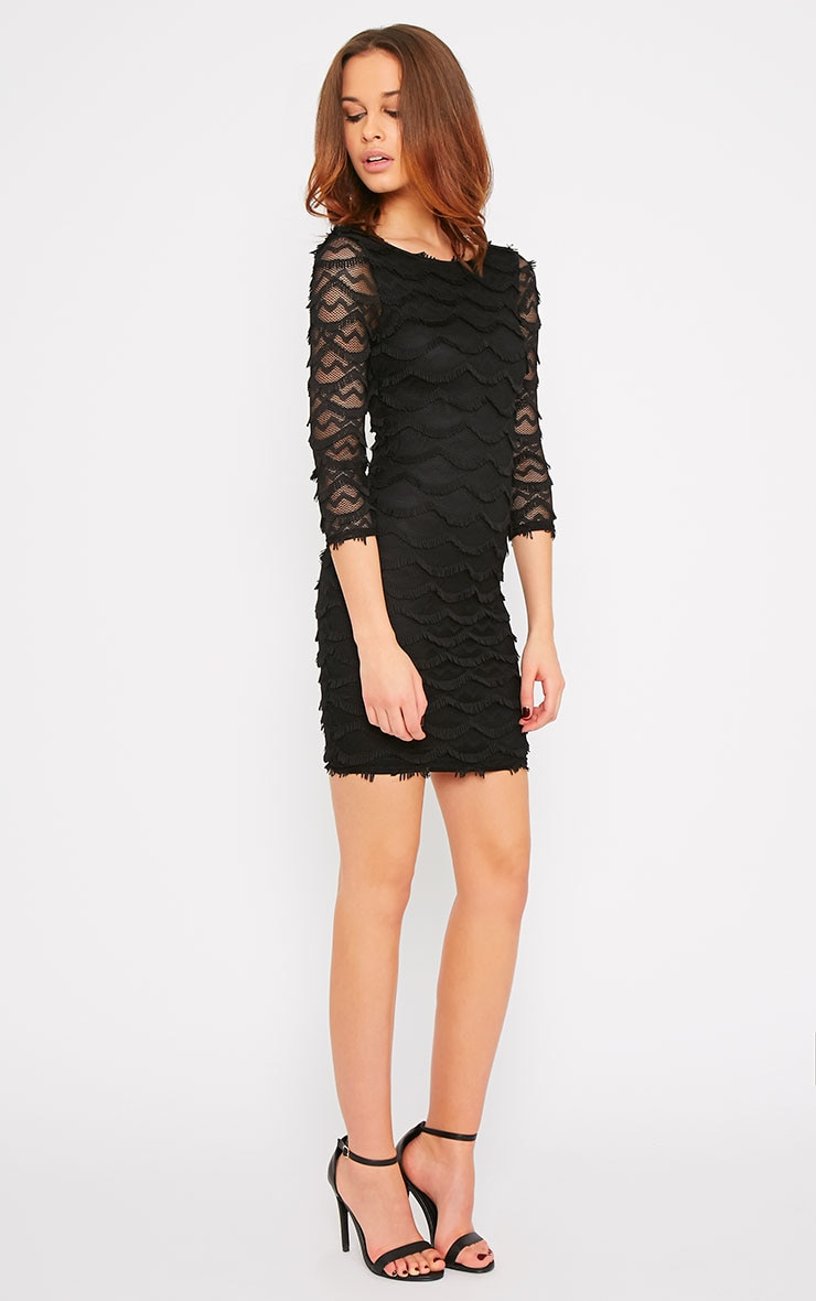 Valentina Black Eyelash Sleeve Dress 3