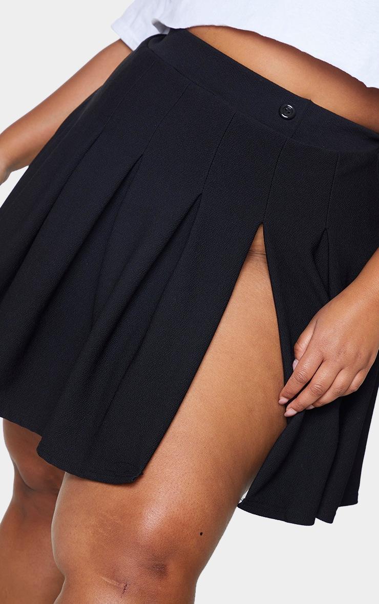 Plus Black Pleated Side Split Tennis Skirt 5