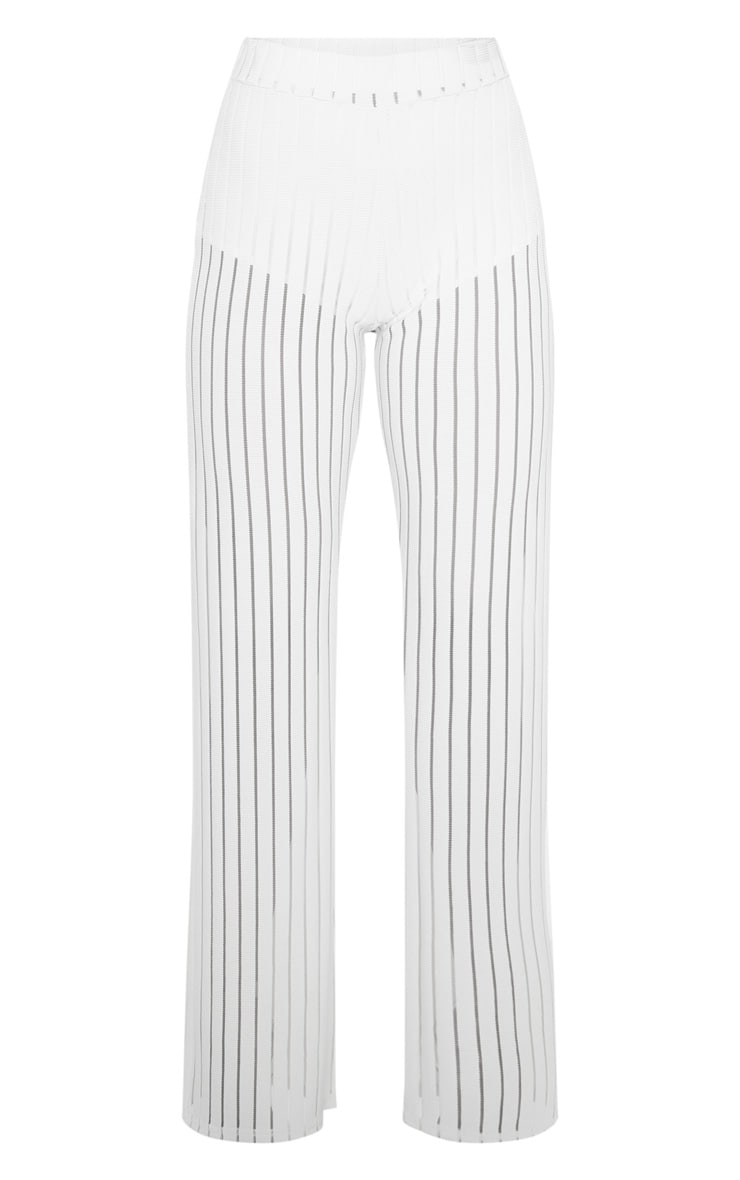 Ecru Mesh Stripe High Waisted Wide Leg Trousers 3