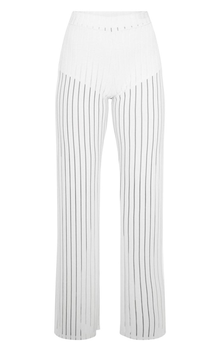 Ecru Mesh Stripe High Waisted Wide Leg Pants 3