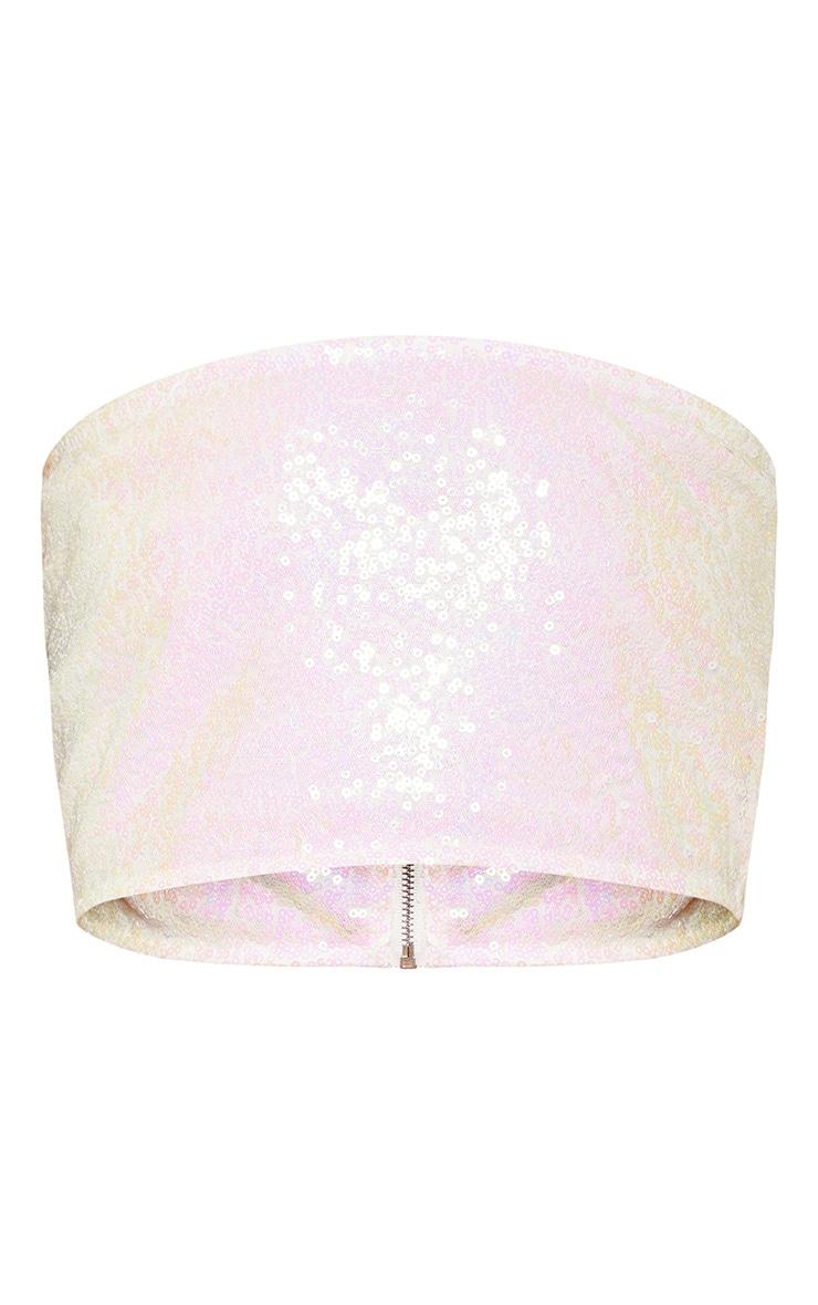 White Sequin Bandeau Zip Back Crop Top 3