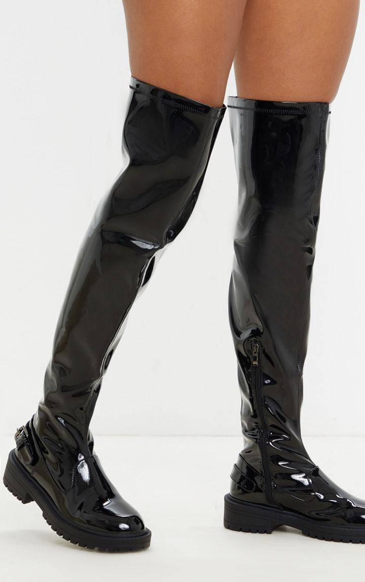 Black Vinyl Cleated Flat Over The Knee Boot 1
