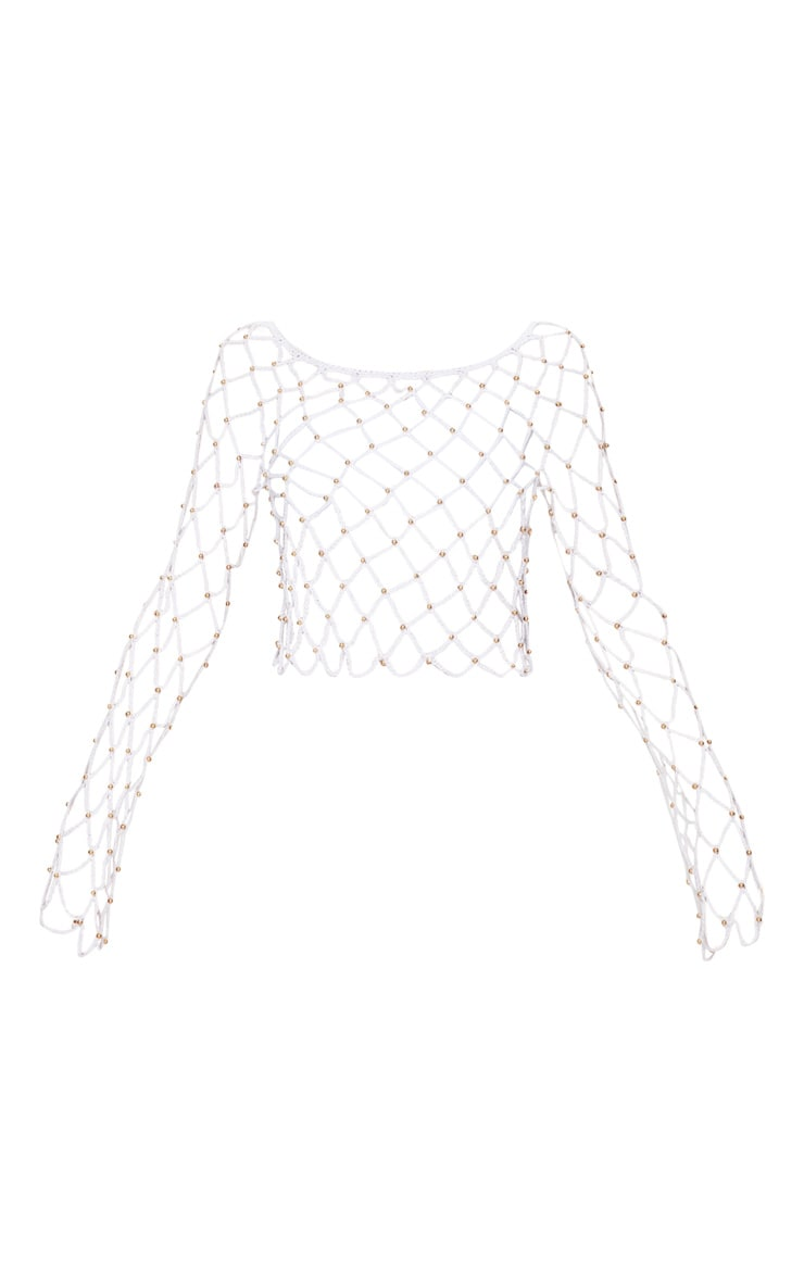 White Crochet Beaded Long Sleeve Top 3