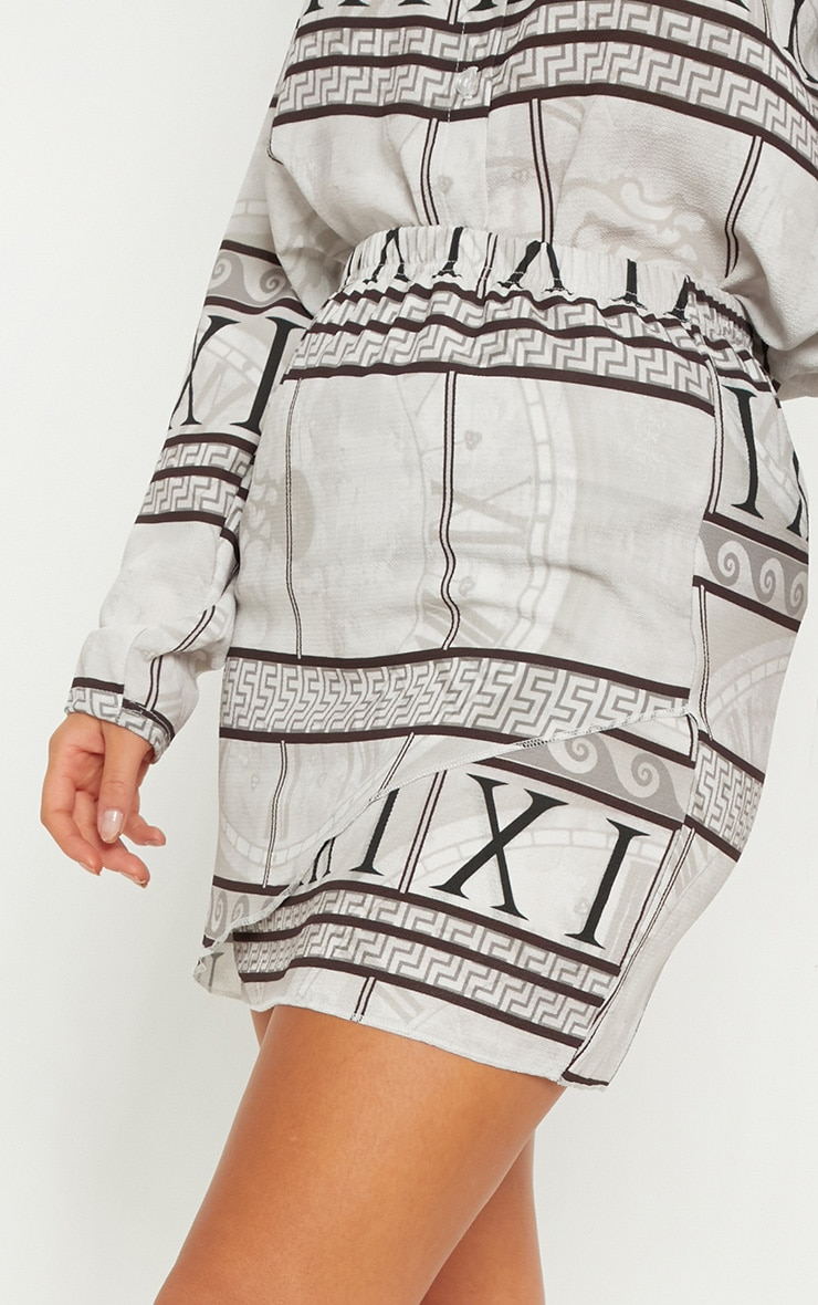 White Abstract Print Wrap Mini Skirt 5