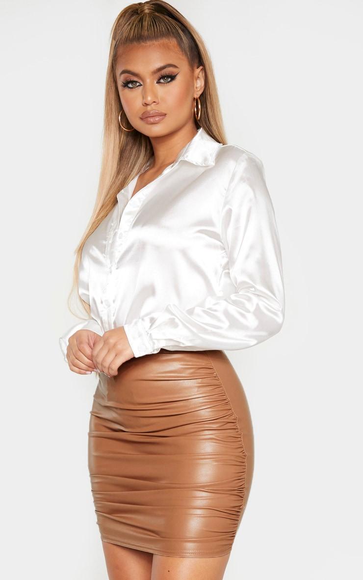 Stone PU Ruched Detail Mini Skirt 5