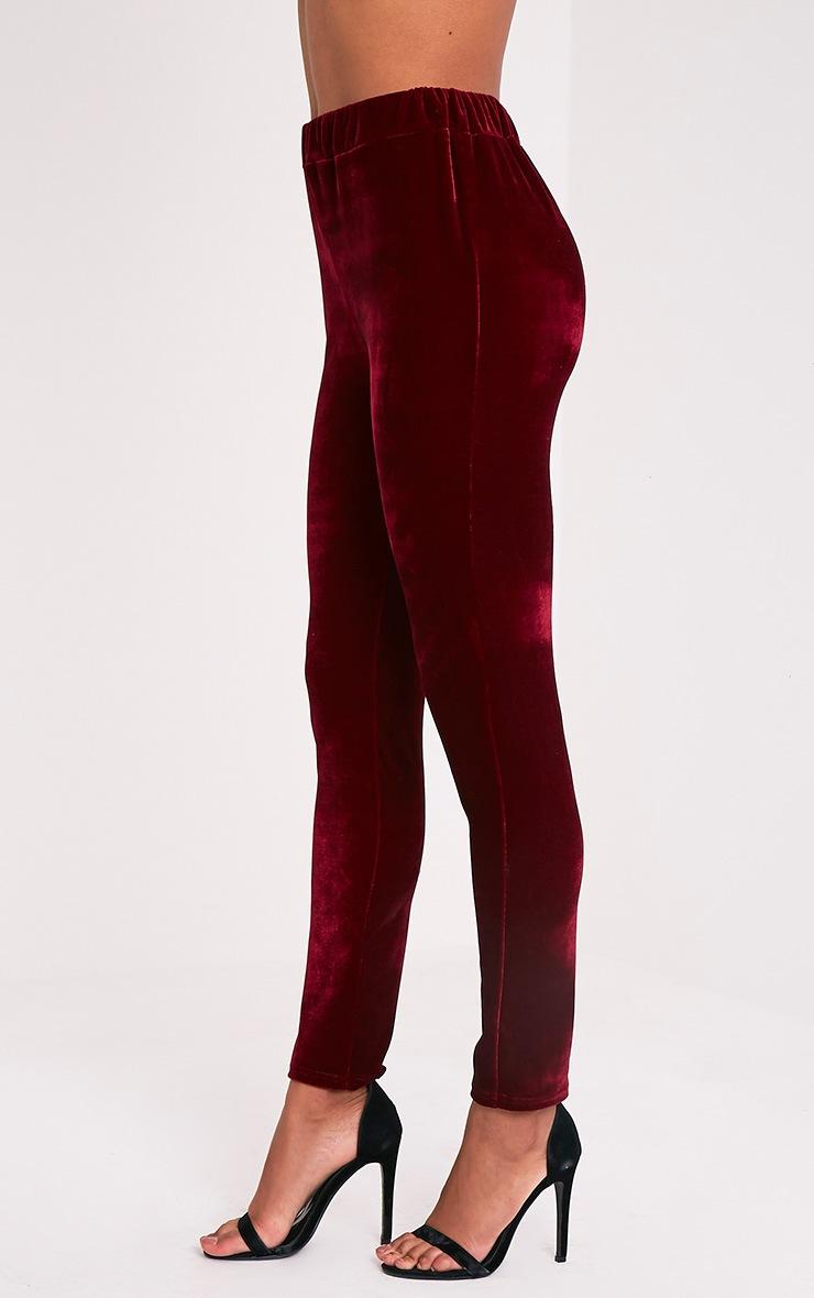 Evalyn Wine Velvet Cigarette Trousers 4