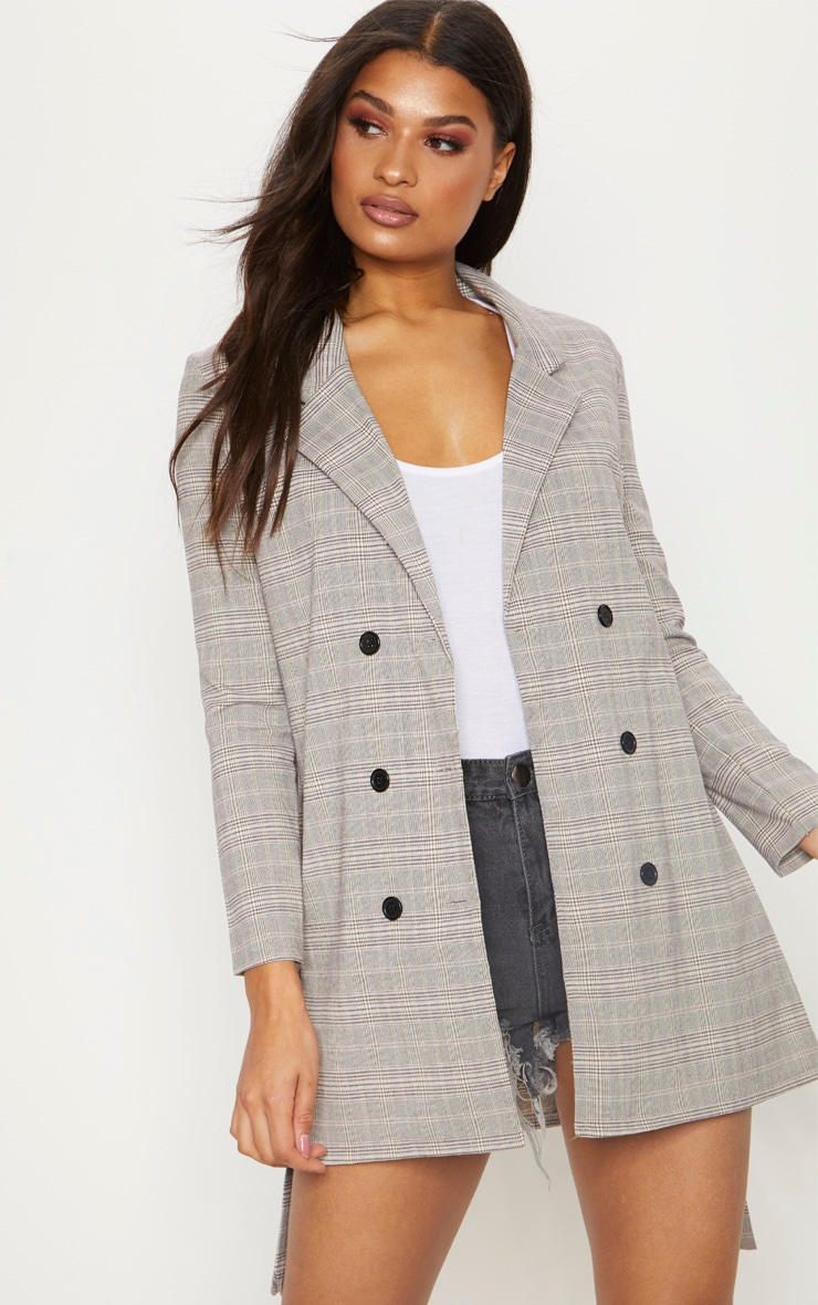 Grey Checked Oversized  Blazer  1