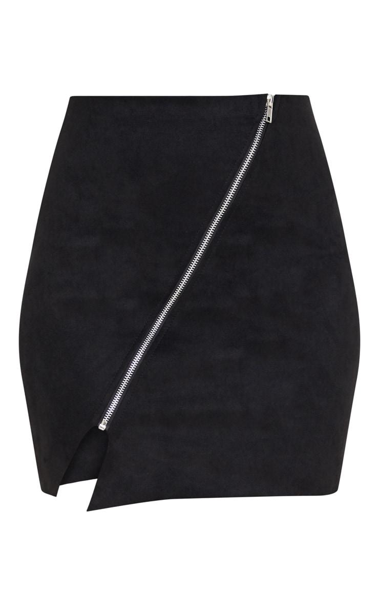 Black Faux Suede Zip Detail A Line Skirt 3