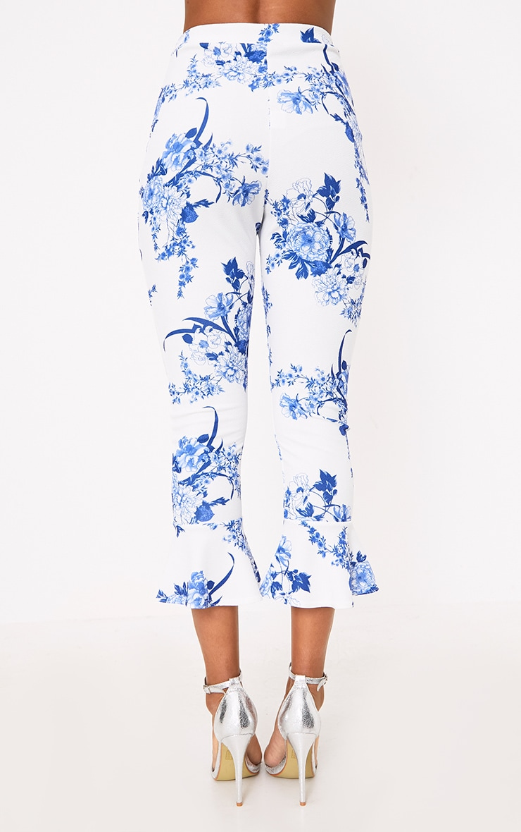 White Porcelain Print Flare Hem Trousers 4