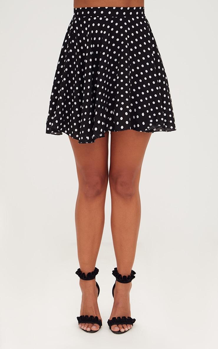 Black Polka Dot Floaty Mini Skirt 2
