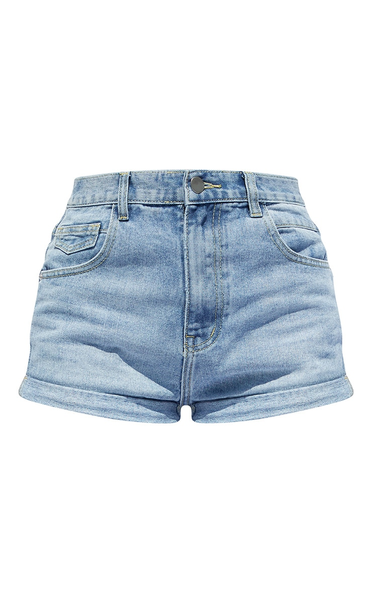 PRETTYLITTLETHING Light Blue Wash Turn Up Hem Denim Hot Pants 6
