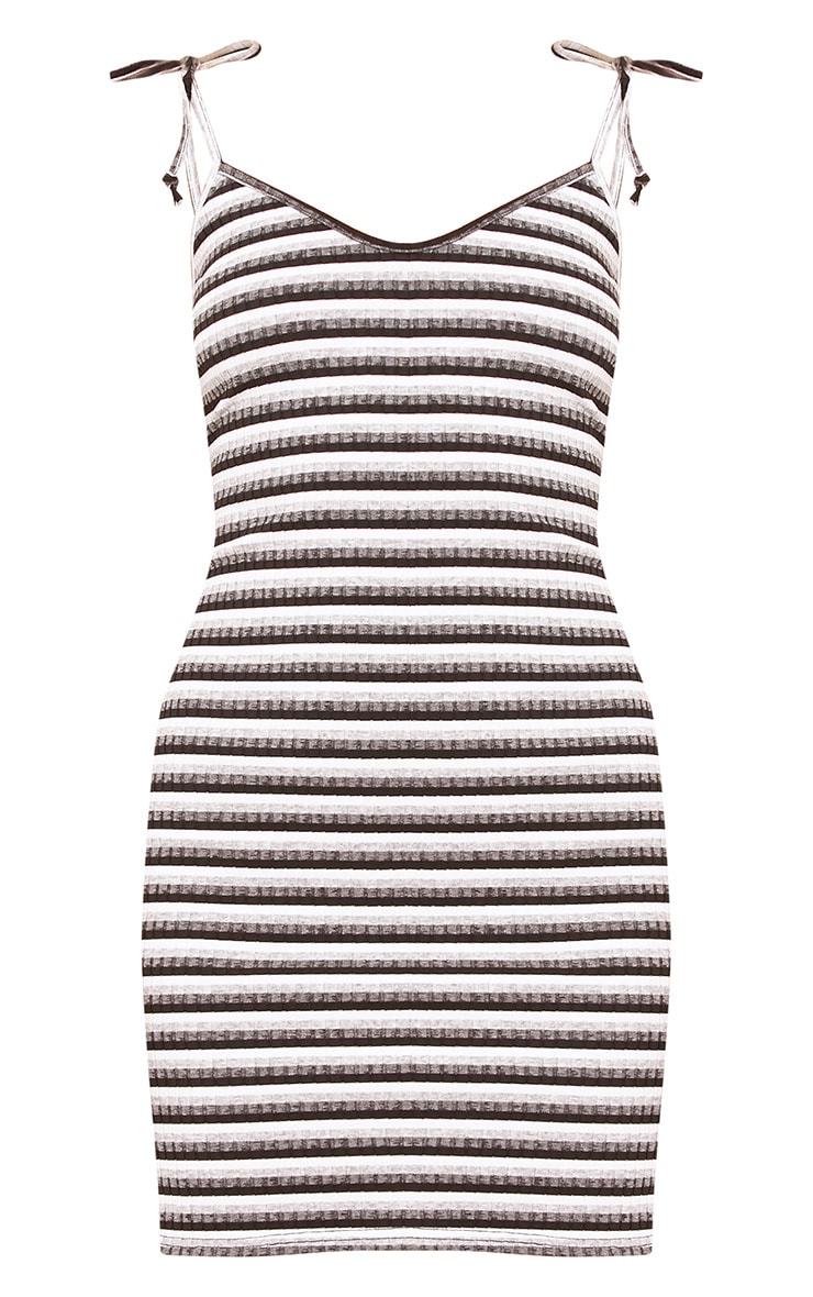 Courtni Black Ribbed Striped Tie Sleeve Bodycon Dress  2