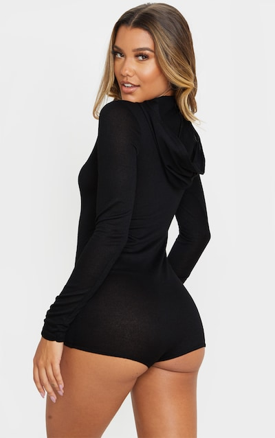 Black Hooded Knitted Romper