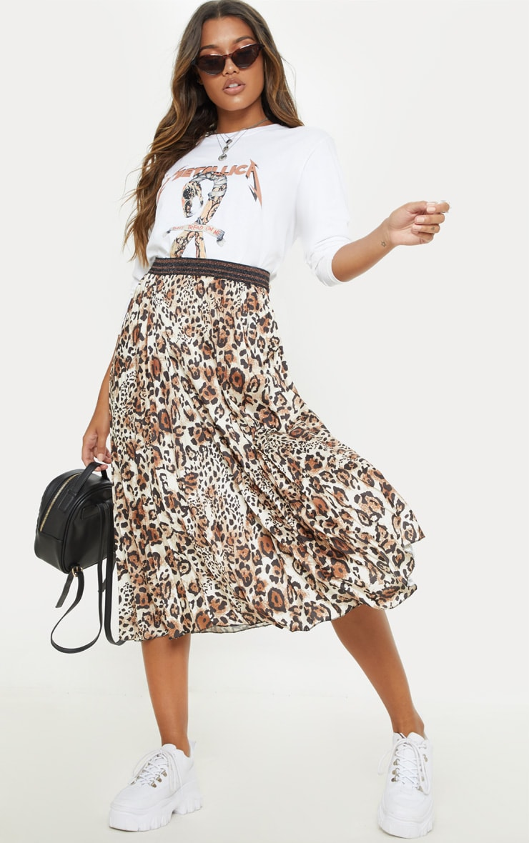 Brown Pleated Leopard Skirt  1