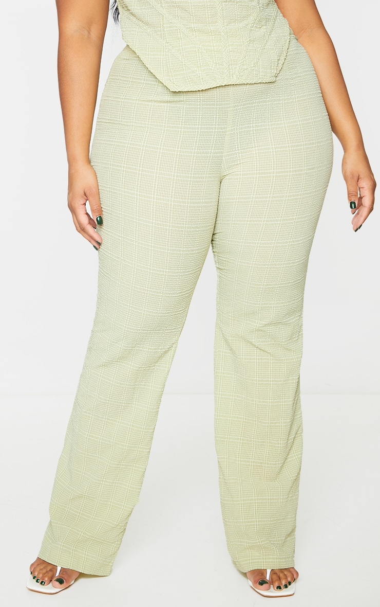 Plus Sage Green Wide Leg Textured Pants 2