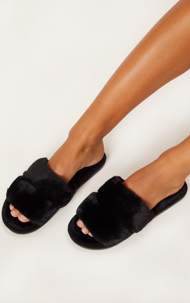 Black Fluffy Two Strap Slipper 2