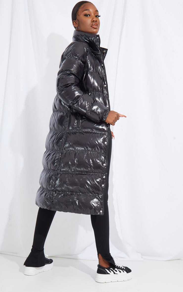 Tall Black Maxi High Shine Fitted Puffer Coat 2