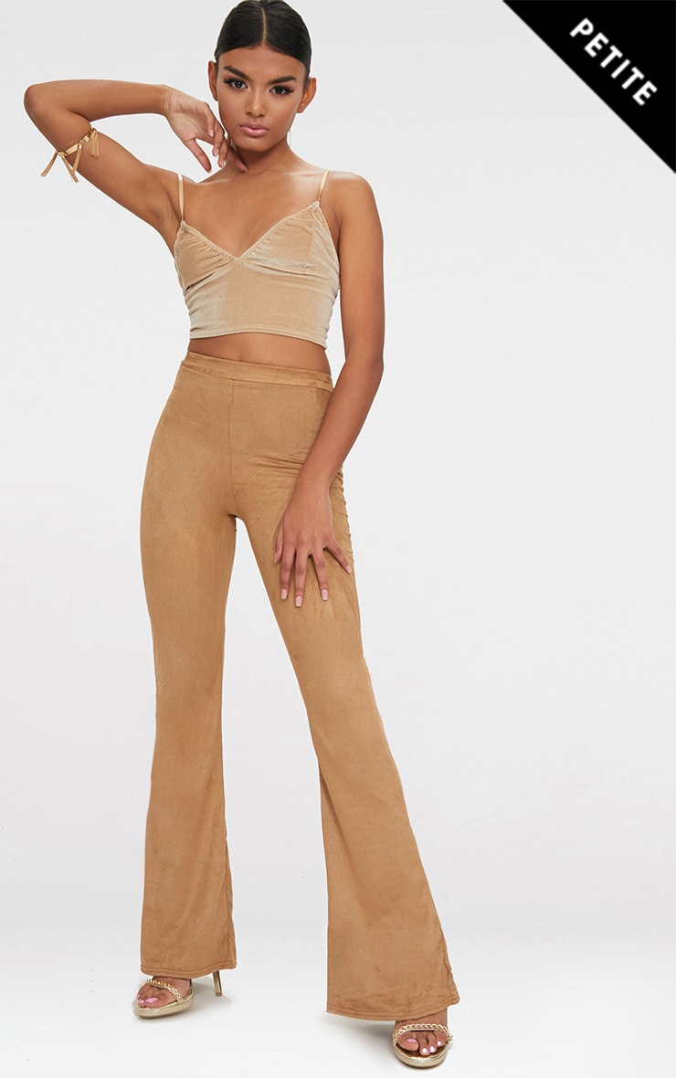 Petite Tobacco Suedette Flared Trousers 1