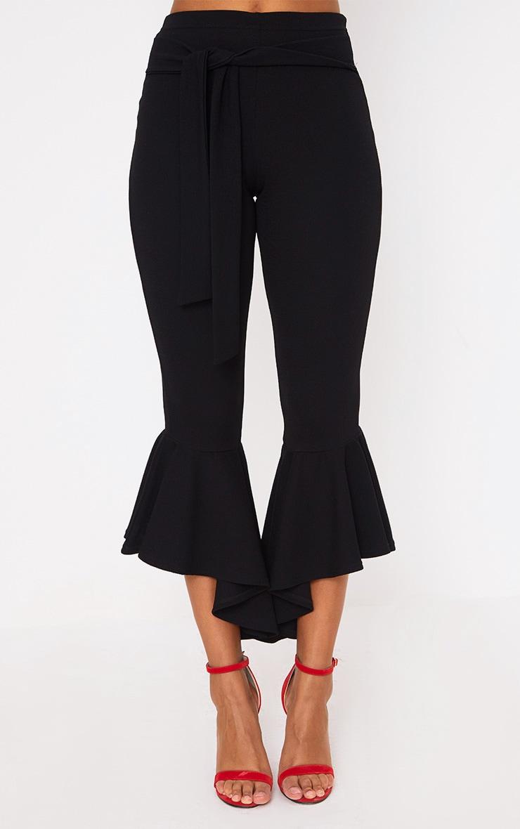 Black Hi Lo Hem Tie Waist Trousers 2