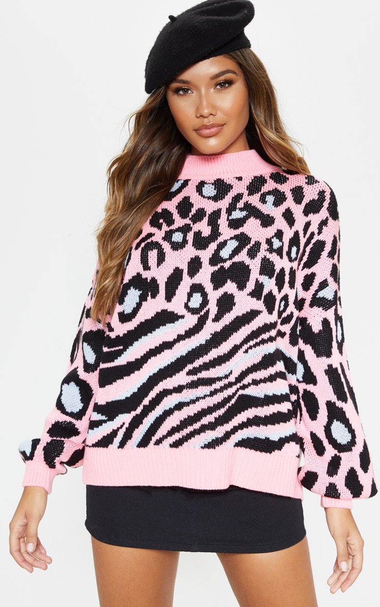 Pink Mixed Animal Print Knitted Sweater 1