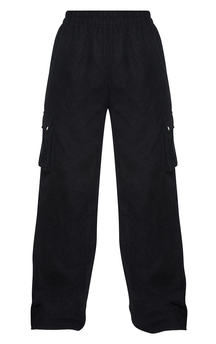 Black Cord Cargo Wide Leg Trousers 5