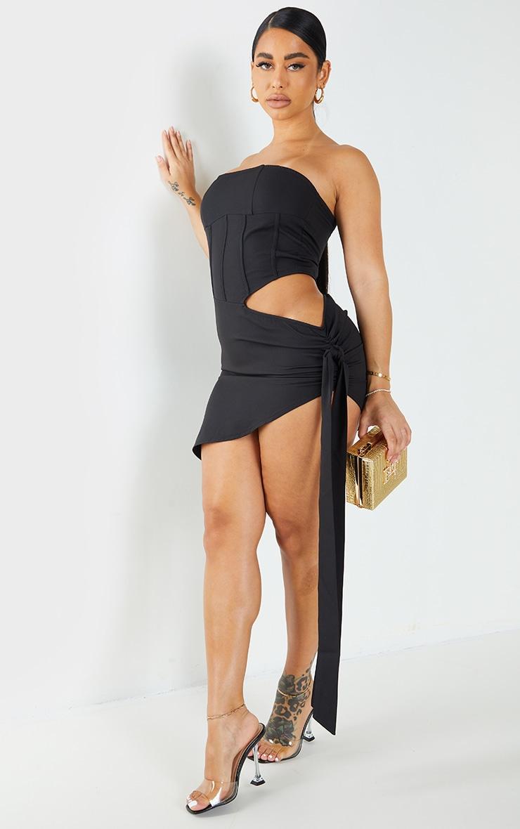 Shape Black Woven Corset Detail Tie Side Bodycon Dress 1