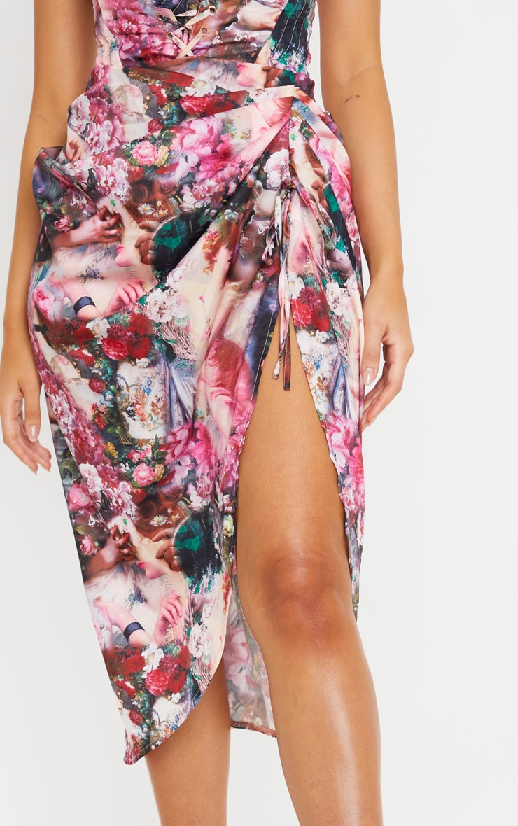 Rose Femme Renaissance Print Ruched Tie Side Midi Skirt 5