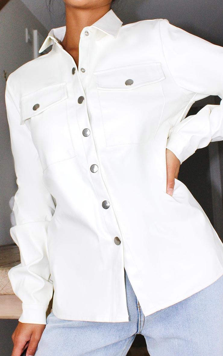 Petite Cream Button Front PU Shirt 4