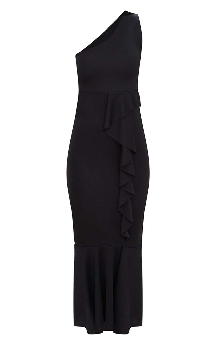 Black Ruffle Detail One Shoulder Midaxi Dress 3