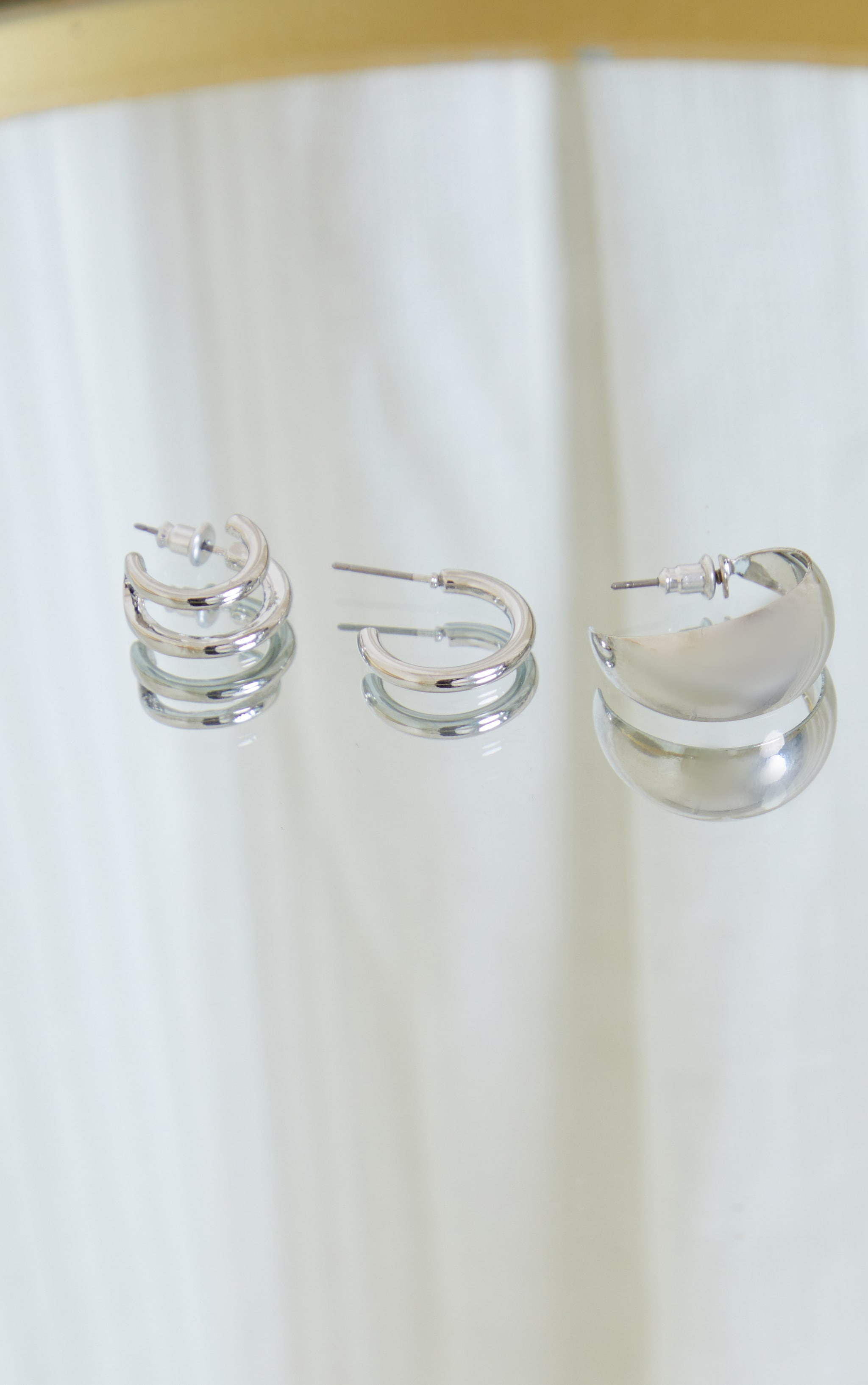 Silver Three Pack Mini Huggie Hoop Earrings 3