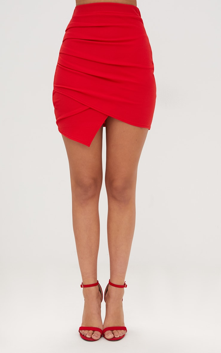 Red Ruched Wrap Mini Skirt 2