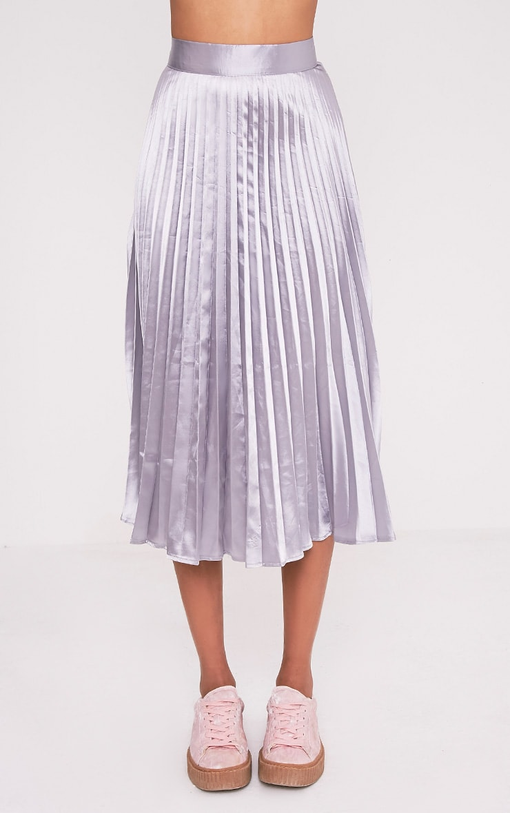 Harmonia Grey Satin Pleated Midi Skirt 2