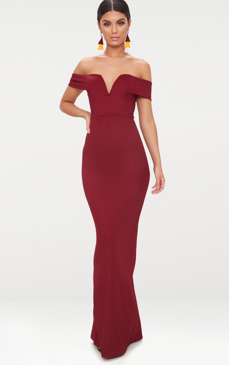 Burgundy Bardot V Plunge Maxi Dress 1