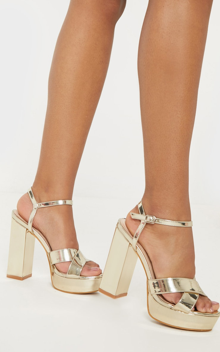 Gold Cross Strap Platform Sandal Shoes