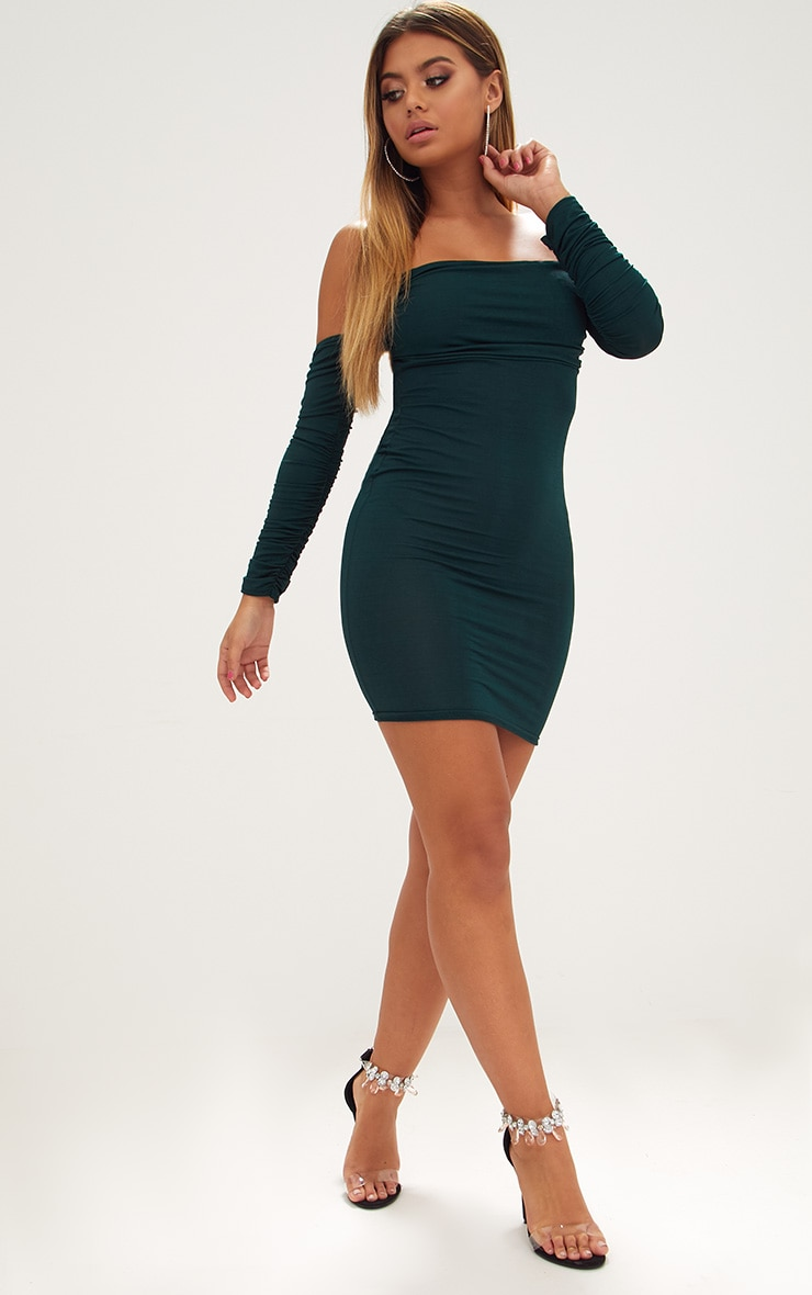 Emerald Green Ruched Front Ruched Arm Bardot Bodycon Dress 5