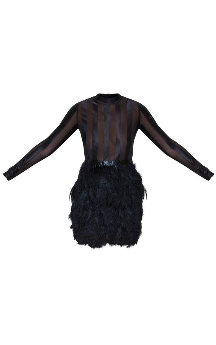 Fawn Black Feather Skirt Bodycon Dress 3