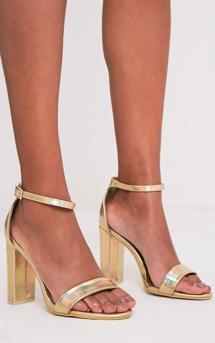 May Gold Holographic Block Heeled Sandals 3