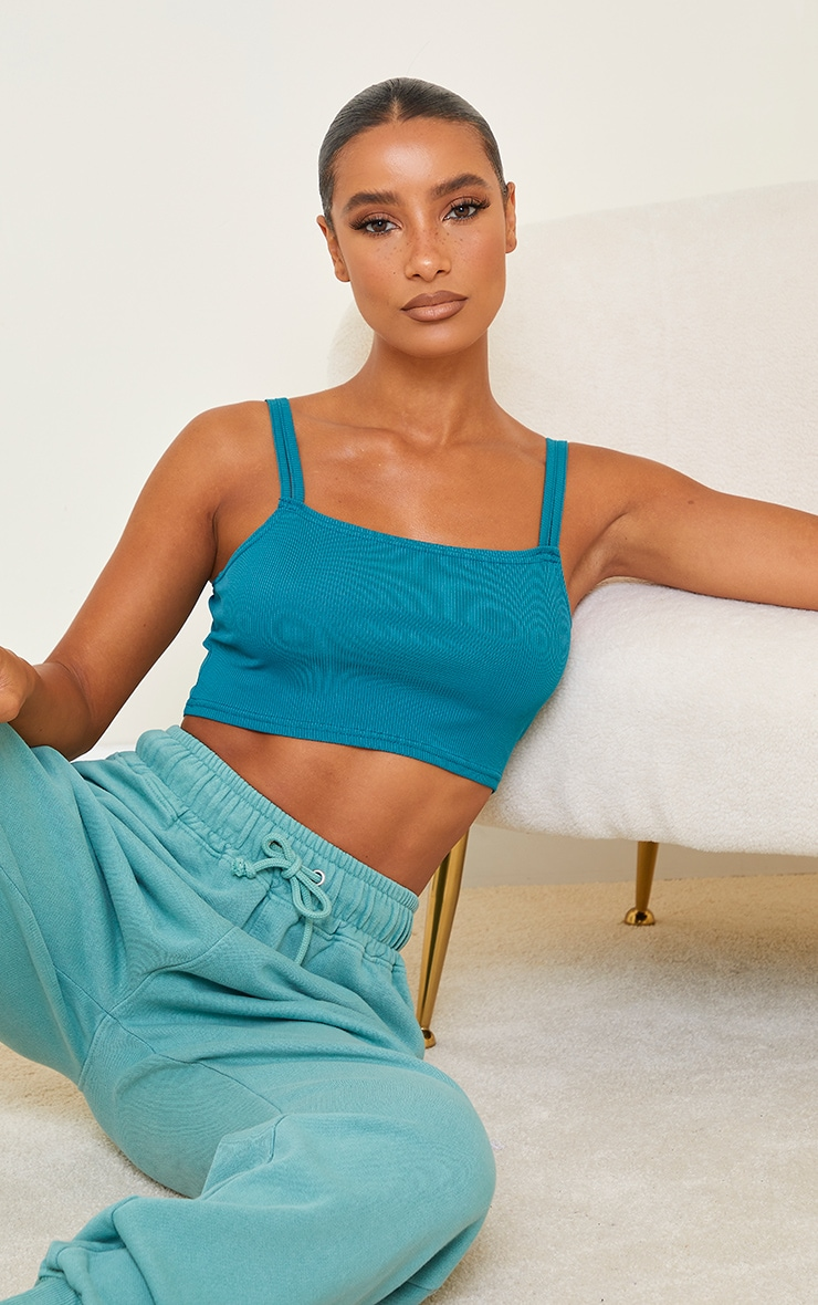 Teal Rib Double Strap Crop Top 1