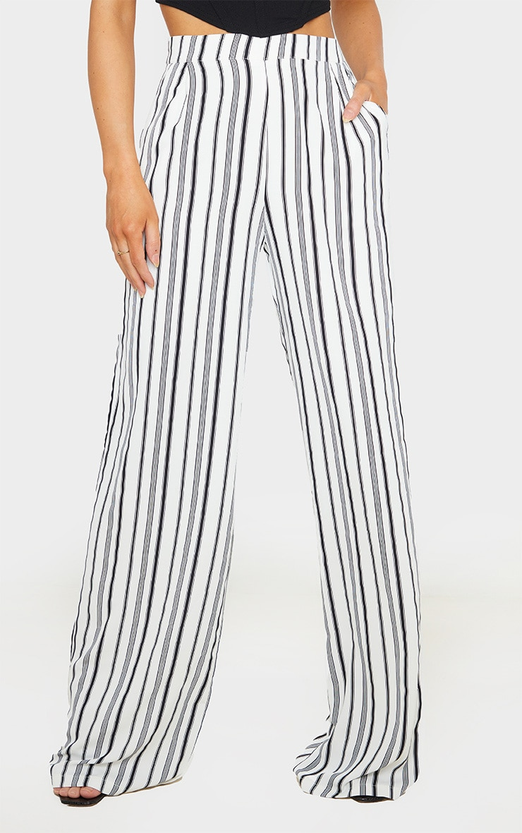White Stripe Print Wide Leg Pants 2