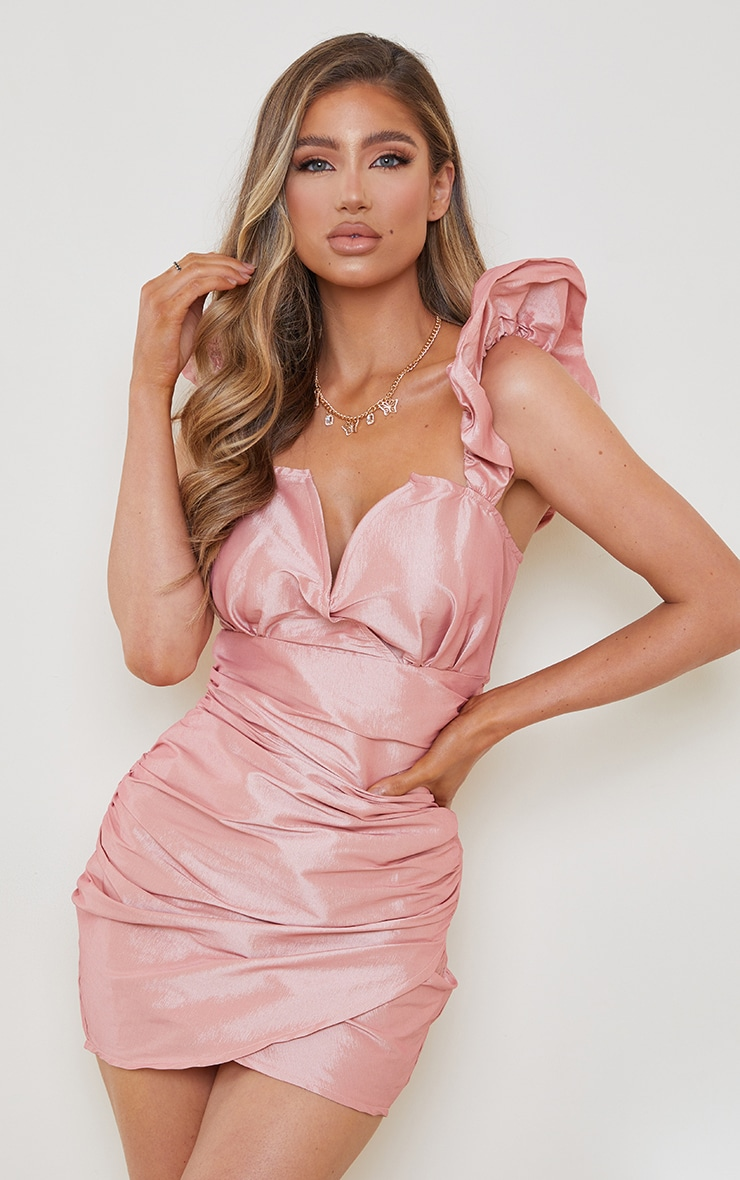 Pink Woven Ruched Puff Shoulder V Plunge Bodycon Dress 1