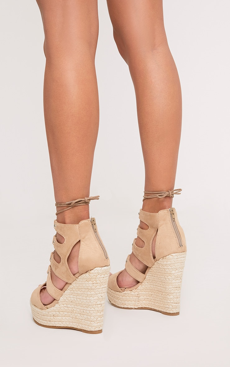 Louisella Nude Lace Up Wedges 2