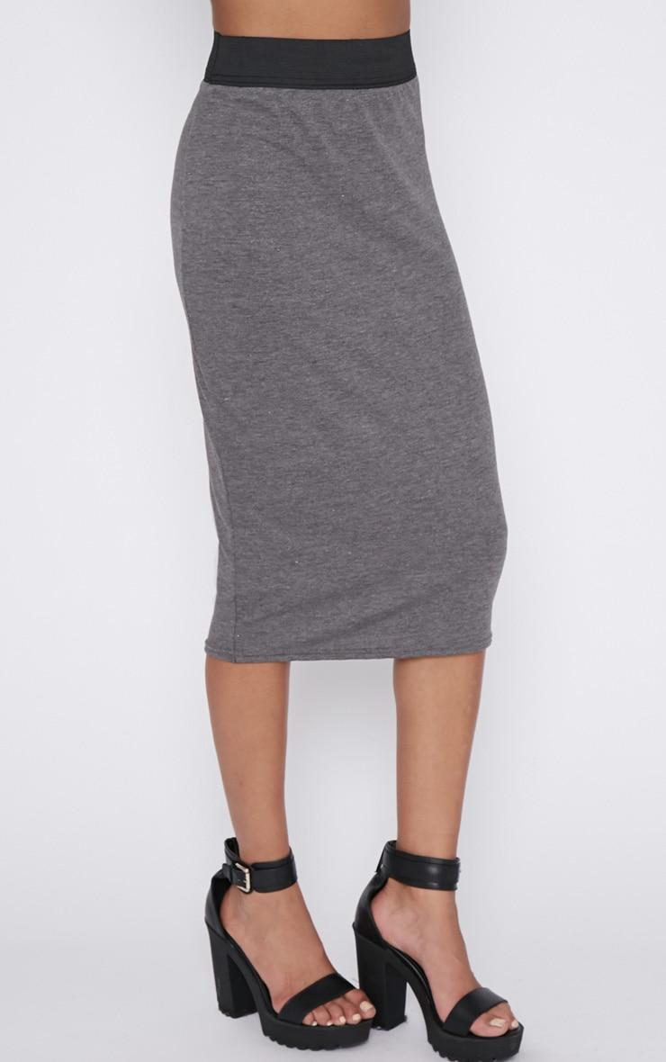 Tamika Charcoal Jersey Midi Skirt  3